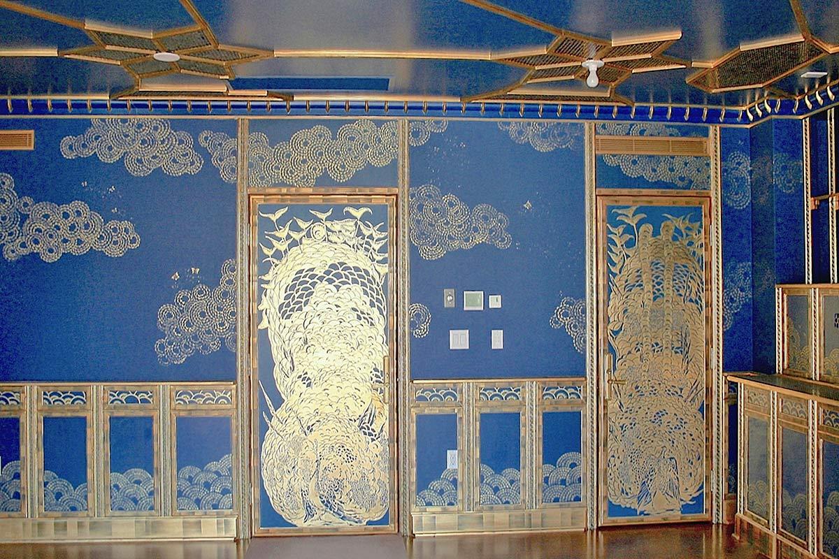 Cigar Room Golden Leaf Mural Decorative Finishes
